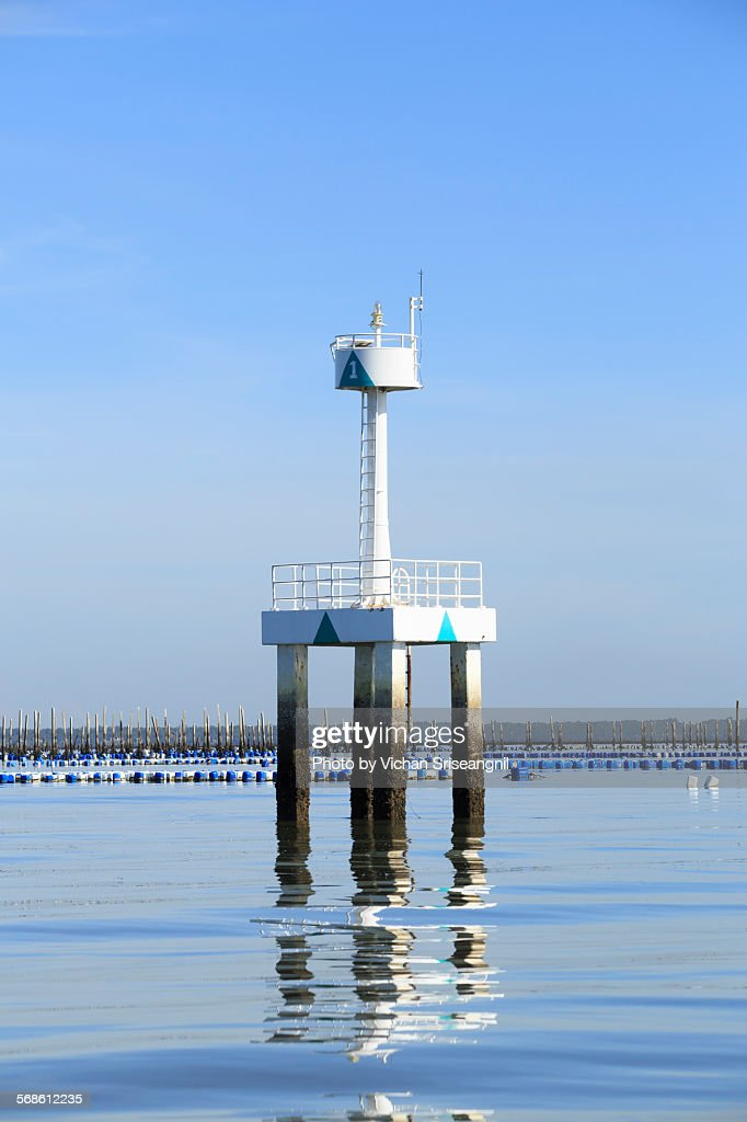 Navigation light tower in gulf of Thailand : Stock Photo
