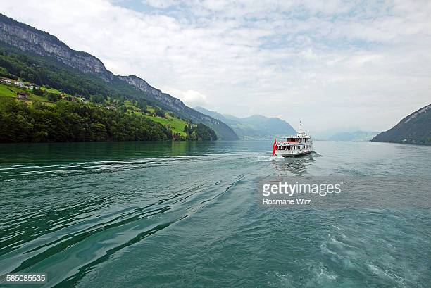 navigation on lake lucerne - schwyz stock pictures, royalty-free photos & images