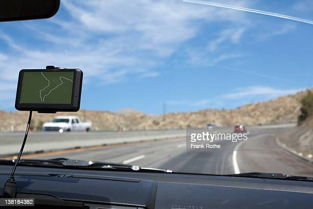 navigation system in the windshield of a car