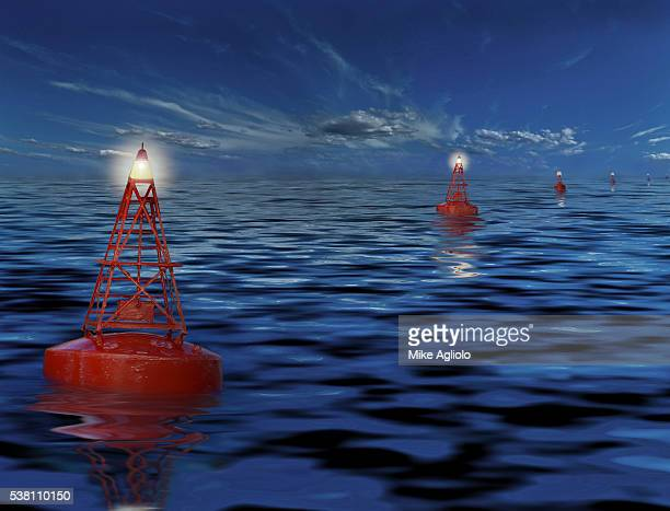 navigational buoys in ocean - mike agliolo stock photos and pictures