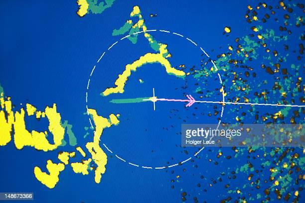 Navigational display aboard cruiseship MS Deutschland (Reederei Deilmann) as vessel approaches narrow passage.