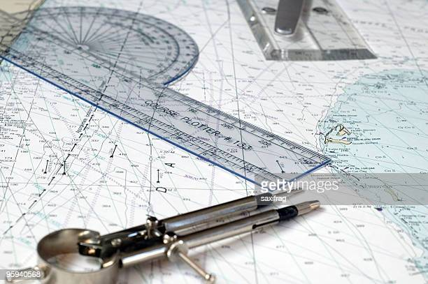 navigational map compass and a ruler - sailor stock pictures, royalty-free photos & images
