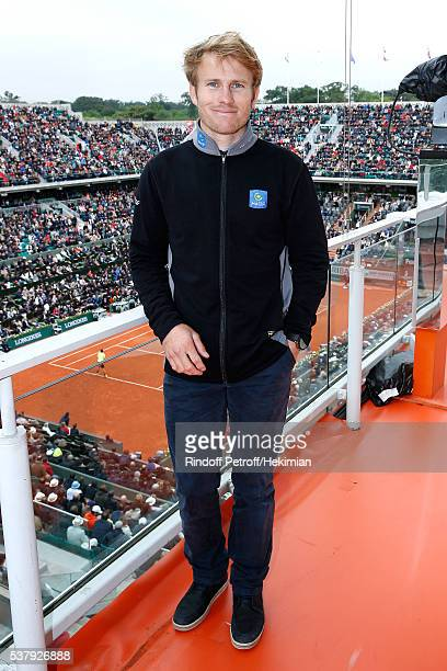 Navigator Francois Gabart poses at France Television french chanel studio during Day Thirteen of the 2016 French Tennis Open at Roland Garros on June...
