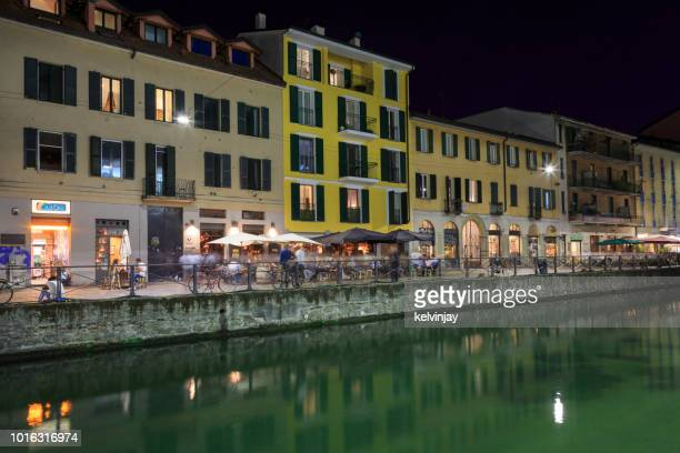 Naviglio Grande -  bars, cafes and restaurants in the beautiful Navigli district in Milan, Italy