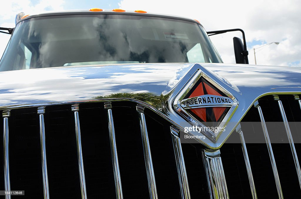 A Navistar Inc. International Truck logo is displayed on a DuraStar truck at Rechtien International Trucks, Inc., in Miami, Florida, U.S. on Friday, Oct. 12, 2012. The U.S. Census Bureau is scheduled to release business inventories figures on Oct. 15. Photographer: Mark Elias/Bloomberg via Getty Images
