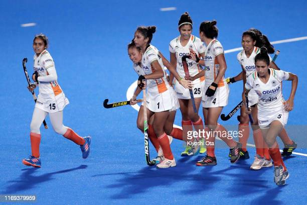 Navjot Kaur of India celebrates with her teammates after scoring the opening goal in the Women's Final match between India and Japan on day four of...