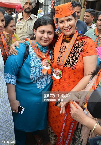 Navjot Kaur Sidhu Wife of BJP sitting MP Navjot Singh Sidhu and Sonali Jaitley daughter of Arun Jaitley during election campaigning in favour of Arun...