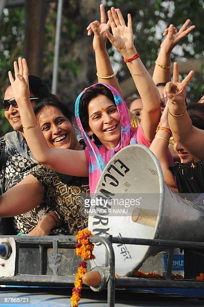 Navjot Kaur, wife of Indian cricketer turned Bharatiya Janata Party MP for Amritsar Navjot Singh Sidhu, greets supporters in a thanks-giving...
