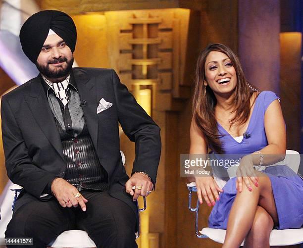 Navjot Singh Sidhu and Isa Guha on the sets of IPL Extra Innings shot at RK Studios in Mumbai