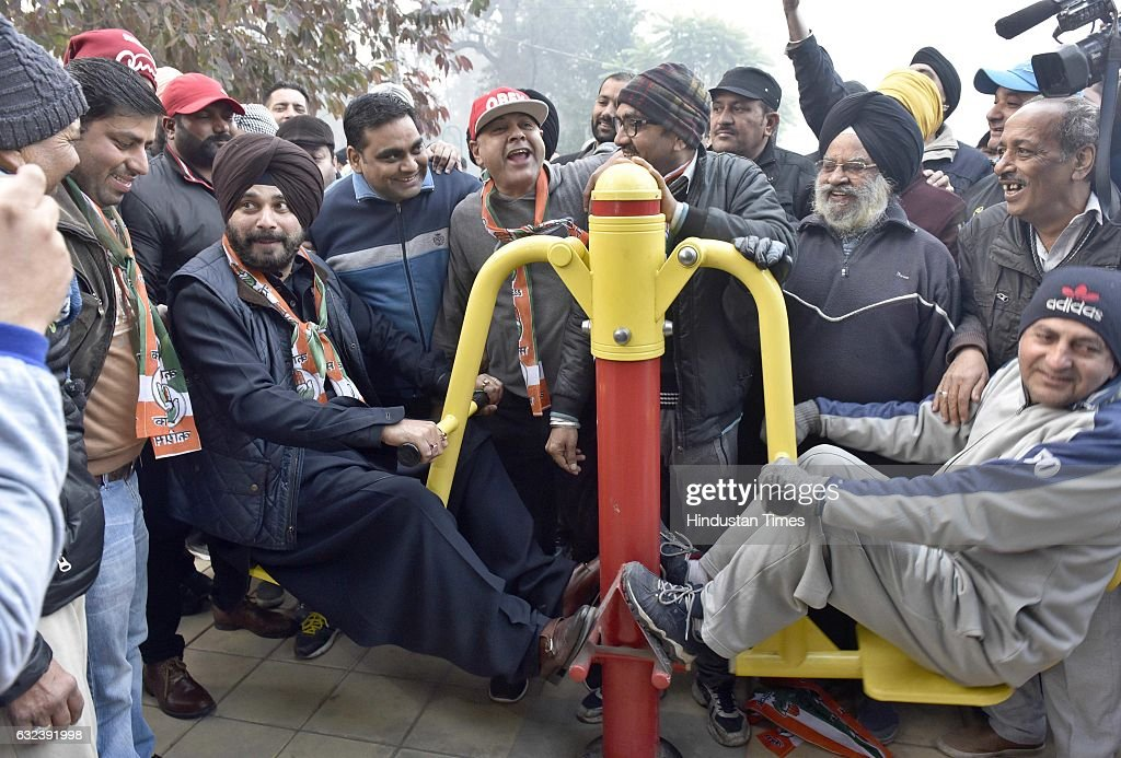 Navjot Singh Sidhu Congress candidate from Amritsar East constituency interacts with people during a poll campaign at famous Ram Bagh on January 22...