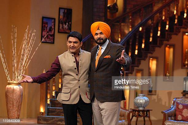 Navjot Singh Sidhu former Indian cricketer and Member of Parliament from Amritsar with comedian Kapil Sharma during the promotion of film Chennai...