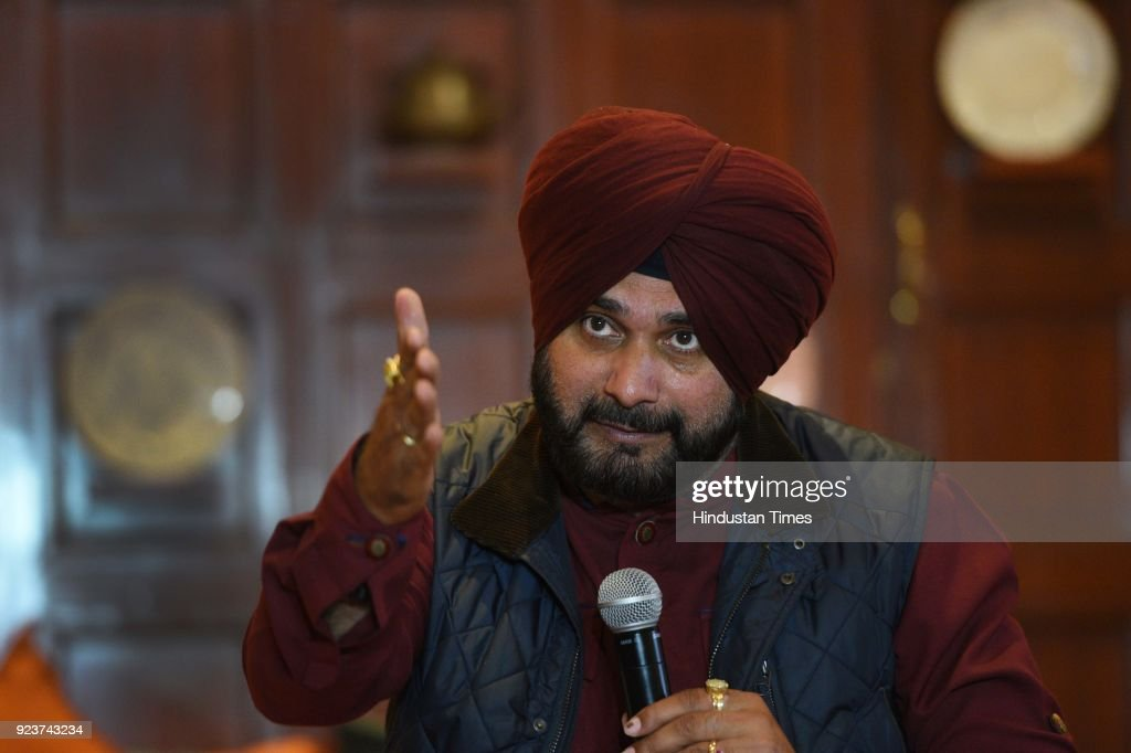 Punjab Cabinet Minister Navjot Singh Sidhu Addressing A Press Conference On First International Contemporary Arts Platform For Punjab