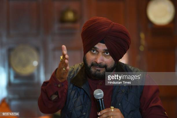 Navjot Singh Sidhu Minister of Tourism Cultural Affairs and Museums of the State of Punjab addressing a press conference on first International...