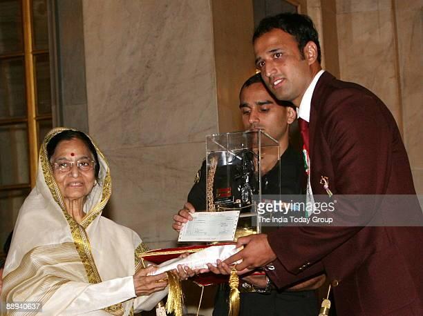 Navneet Gautum Kabaddi Player Receiving the Arjuna award from Pratibha Devisingh Patil President of India in New Delhi India