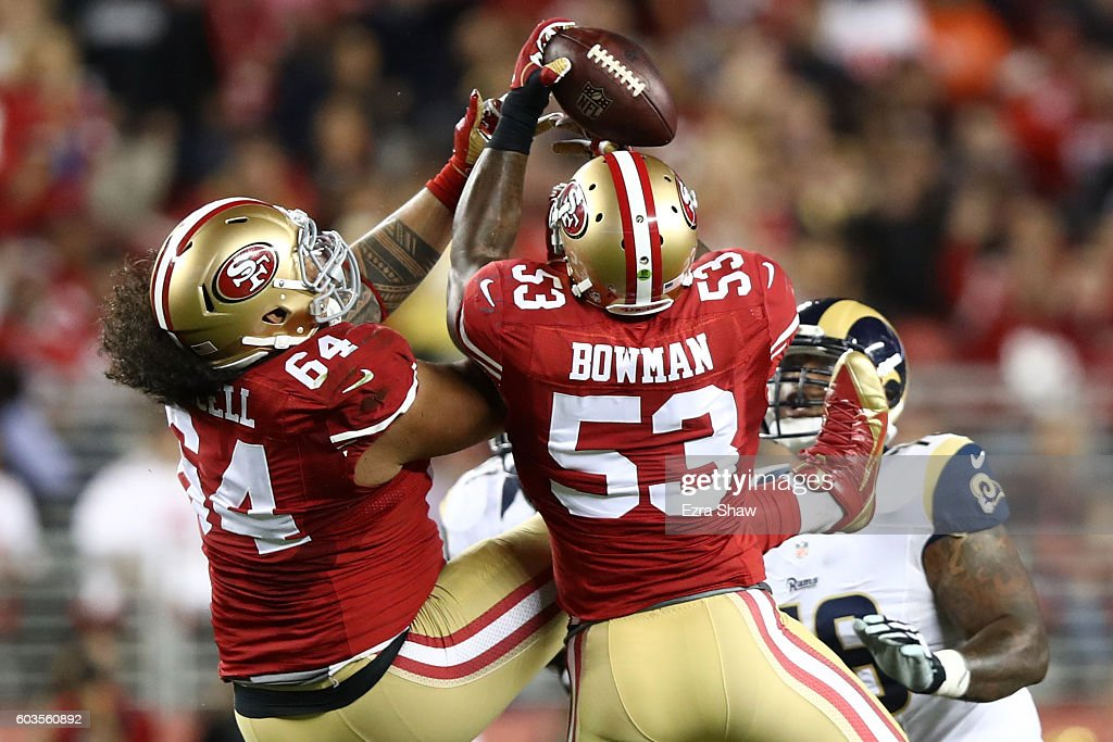 NaVorro Bowman #53 of the San Francisco 49ers intercepts Case Keenum #17 of the Los Angeles Rams during their NFL game at Levi's Stadium on September 12, 2016 in Santa Clara, California.