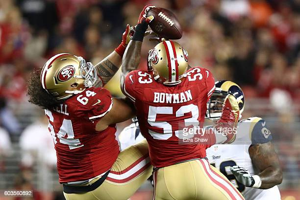 NaVorro Bowman of the San Francisco 49ers intercepts Case Keenum of the Los Angeles Rams during their NFL game at Levi's Stadium on September 12 2016...