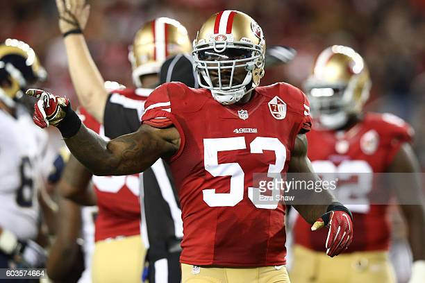 NaVorro Bowman of the San Francisco 49ers reacts after a play against the Los Angeles Rams during their NFL game at Levi's Stadium on September 12...