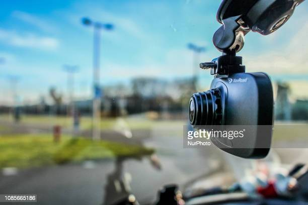 NavRoad dash cam mounted in car is seen in Gdansk Poland on 1 July 2018 Sales of car cameras is growing in Poland Experts say that popularity of this...