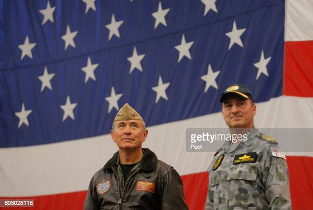 Navy Admiral Harry Harris , Commander of the U.S. Pacific Command and Australian Navy Vice Admiral David Johnston take part in a ceremony marking the...