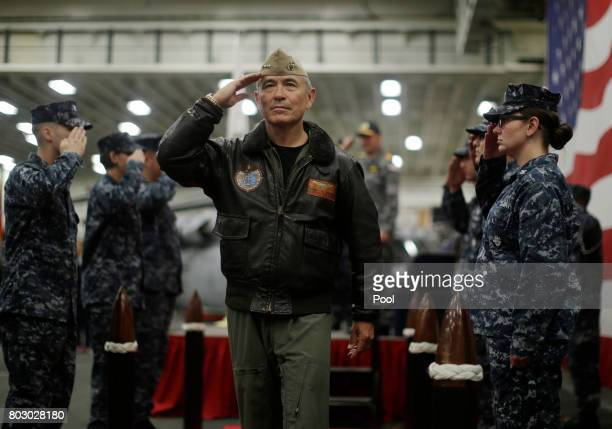S Navy Admiral Harry Harris Commander of the US Pacific Command salutes at a ceremony marking the start of Talisman Saber 2017 a biennial joint...