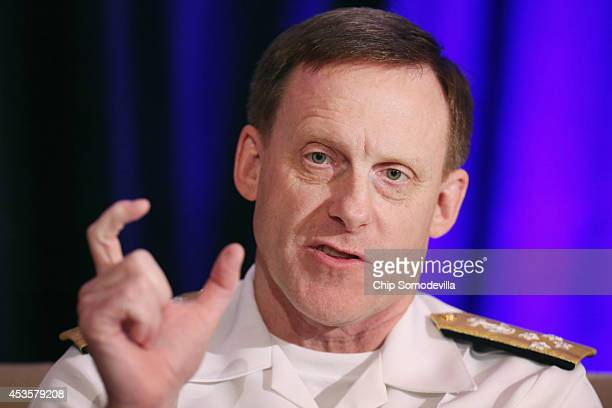 S Navy Admiral Michael Rogers the director of the National Security Agency participates in a questionandanswer session during the Intelligence and...