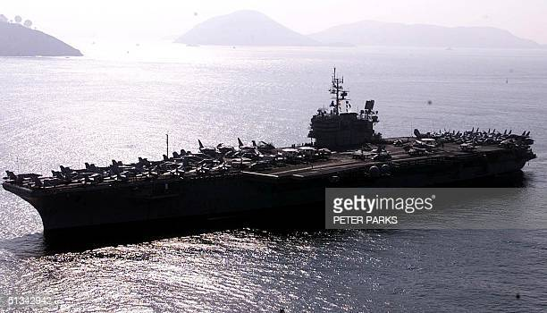US navy aircraft carrier USS Constellation sails into Hong Kong waters 20 August 2001 with its sixship battle group for port call 15 American...