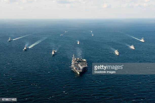 U.S. Navy and ROK Navy ships transit the waters surrounding the Korean Peninsula.