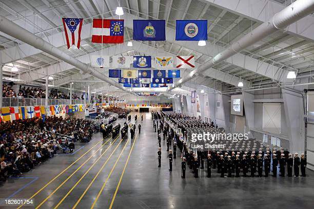Navy Basic Training recruits stand in formation during their graduation ceremony on Friday morning April 5 2013 in Great Lakes Illinois April 5 2013...