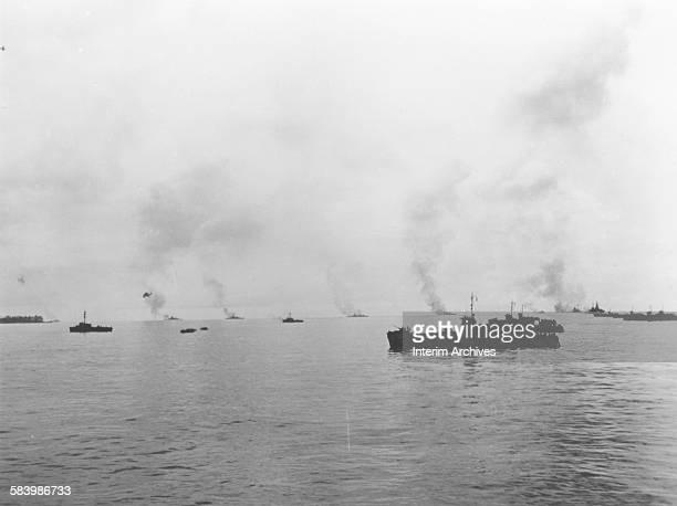 US Navy battleships shell the Japanese defenses on the island of Peleliu during World War II 1944