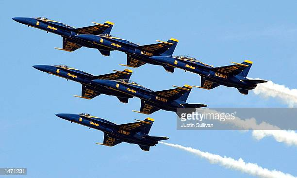 S Navy Blue Angels F18A Hornets fly in formation during a practice performance for Fleet Week October 11 2002 in San Francisco California The annual...