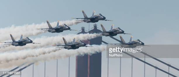 US Navy Blue Angels F/A18 fly over the San Francisco Bay in San Francisco California on October 13 2019