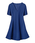 Navy blue retro dress with short sleeves isolated on white