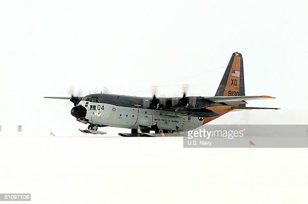 A US Navy C130 Hercules From Antarctic Development Squadron 6 Makes The Squadron's Final Departure From The SnowPacked Runway Of Williams Field...