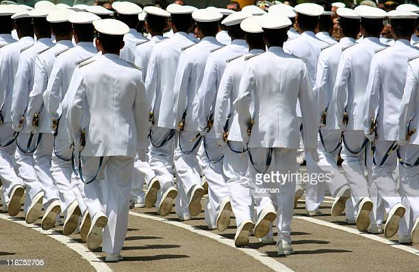 navy cadets marching - academy stock pictures, royalty-free photos & images