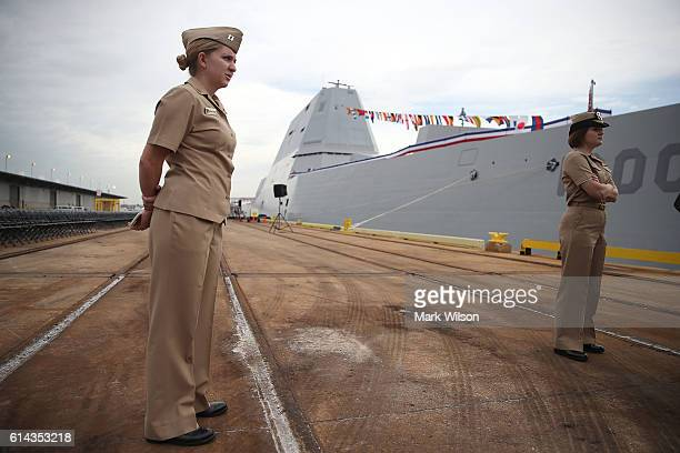 Navy Captain Lauren Chatmas stands with US Navy LCDR Rebecca Haggard next to the US Navy's new guided missile destroyer DDG 1000 USS Zumwalt on...