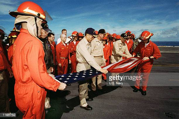S Navy Captain Stephen Voestch Commander of Carrier Air Wing One Rear Admiral Mark Fitzgerald Commander of Carrier Group Eight Captain Richard J...