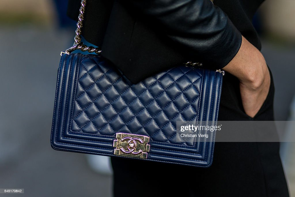 53356a56c6c A navy Chanel bag outside Giorgio Armani Prive during Paris Fashion ...