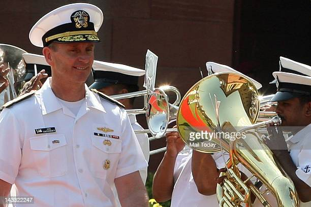 Navy Chief of Naval Operations Admiral Jonathan Greenert prior to a meeting with Navy chief Admiral Nirmal Verma in New Delhi