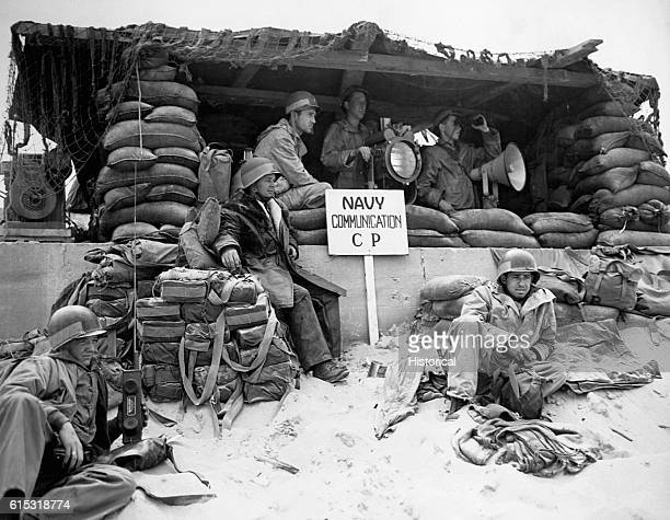 A US Navy communications command post set up at Normandy shortly after the initial landing on Dday June 1944