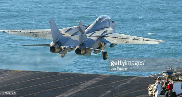 S Navy F14 takes off from the deck from the USS Constellation December 30 2002 in the Persian Gulf The war planes from the aircraft carrier have the...