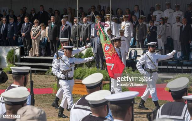 Navy flag bearer and escorts parade during the commemoration of the 100th anniversary of Portuguese Naval Aviation on September 28 2017 in Lisbon...