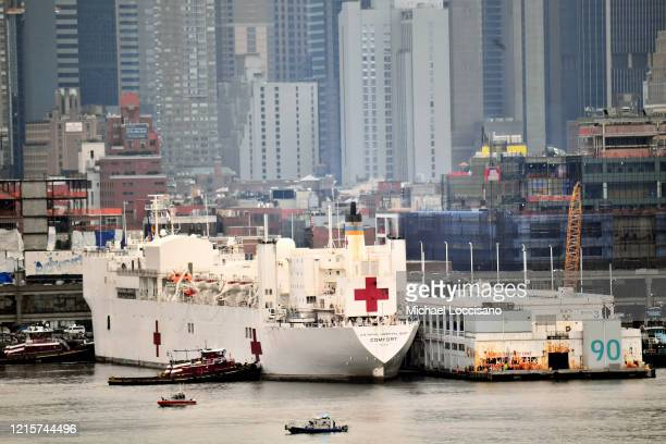 Navy Hospital Ship USNS Comfort docks at Pier 90 on the Hudson River as the coronavirus pandemic continues to overwhelm medical infrastructure on...