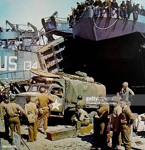 Navy Landing craft are loaded in England just before the D Day Normandy invasion 1944.