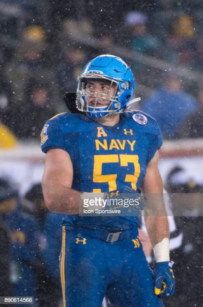 Navy LB Hudson Sullivan looks on between plays in the second half during the game between The Army Black Knights and Navy Midshipmen on December 09...