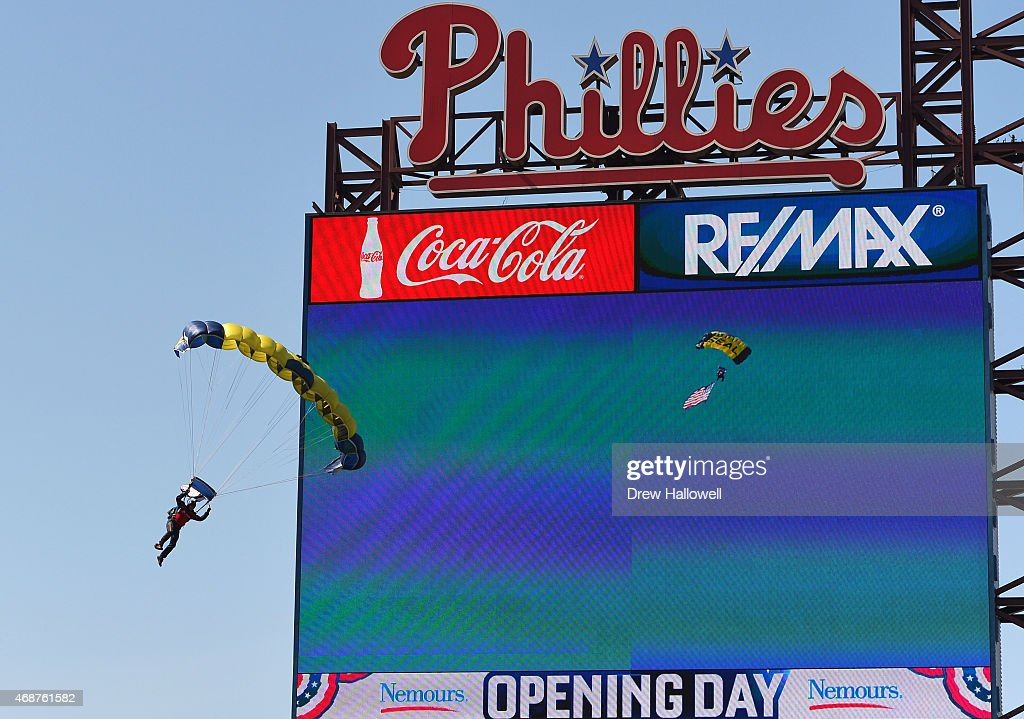 Navy Leapfrog member parachutes into the stadium before the game between the Boston Red Sox and Philadelphia Phillies during Opening Day at Citizens Bank Park on April 6, 2015 in Philadelphia, Pennsylvania.