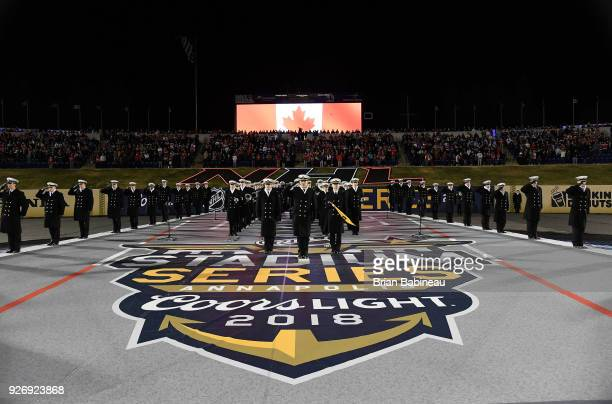 Navy midshipmen are seen on the field prior to the the 2018 Coors Light NHL Stadium Series game between the Toronto Maple Leafs and the Washington...
