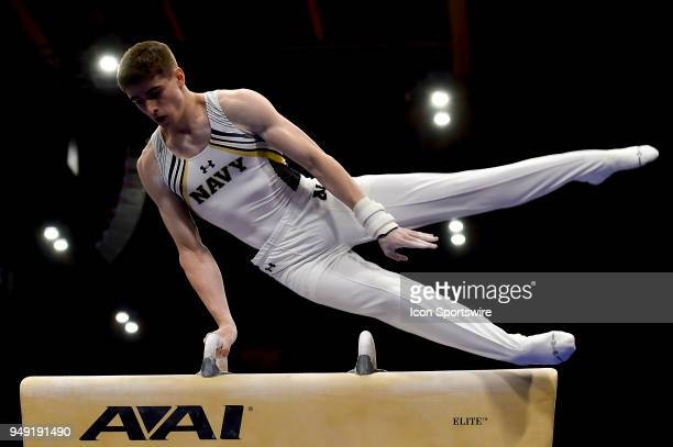 Navy Midshipmen David Toussaint performs on the pommel horse during the National Collegiate Gymnastics Championships on April 20 2018 at the UIC...