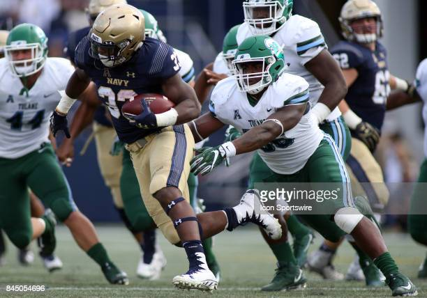 Navy Midshipmen fullback Chris High in action during a match between Tulane and Navy on September 09 at Navy Marine Corps Memorial Stadium in...