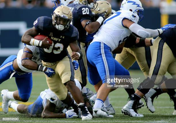 Navy Midshipmen fullback Chris High in action during a match between Navy and Air Force on October 07 at NavyMarine Corps Memorial Stadium in...
