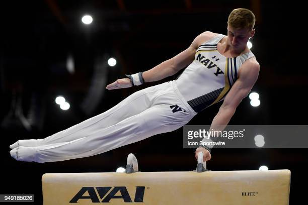 Navy Midshipmen Noah Beeman performs on the pommel horse during the National Collegiate Gymnastics Championships on April 20 2018 at the UIC Pavilion...